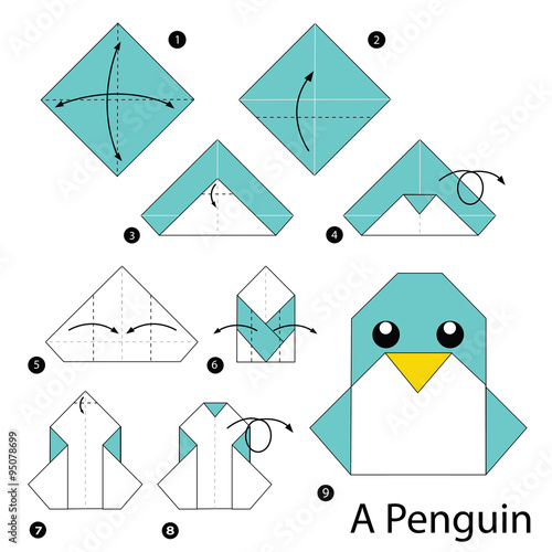 origami penguin instructions printable